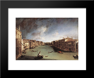Grand Canal, Looking Northeast From Palazo Balbi Toward The Rialto Bridge: Modern Black Framed Art Print by Canaletto