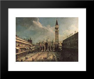 Piazza San Marco: Modern Black Framed Art Print by Canaletto