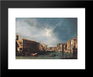 The Grand Canal From Rialto Toward The North: Modern Black Framed Art Print by Canaletto