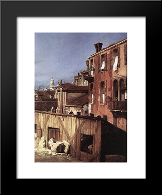 The Stonemason'S Yard (Detail): Modern Black Framed Art Print by Canaletto