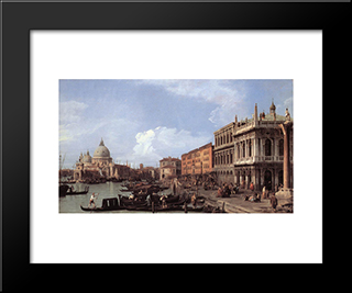 The Molo: Looking West: Modern Black Framed Art Print by Canaletto