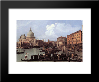 The Molo: Looking West (Detail): Modern Black Framed Art Print by Canaletto
