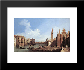 Grand Canal: From Santa Maria Della Carita To The Bacino Di San Marco: Modern Black Framed Art Print by Canaletto