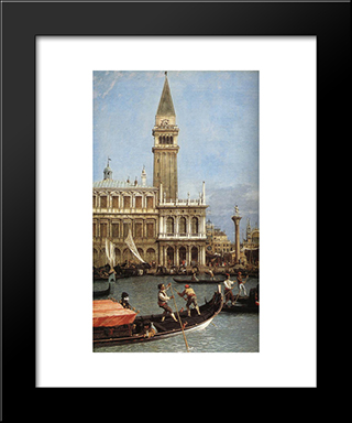 Return Of The Bucentoro To The Molo On Ascension Day (Detail): Modern Black Framed Art Print by Canaletto