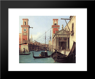 View Of The Entrance To The Arsenal (Detail): Modern Black Framed Art Print by Canaletto