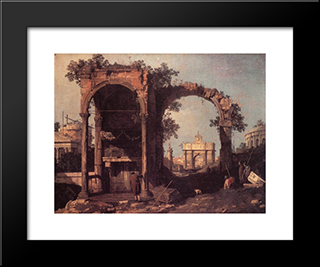Capriccio: Ruins And Classic Buildings: Modern Black Framed Art Print by Canaletto