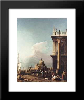 Venice: The Piazzetta Looking South'West Towards S. Maria Della Salute: Modern Black Framed Art Print by Canaletto