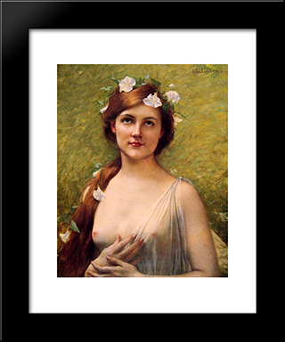 Young Woman With Morning Glories In Her Hair: Modern Black Framed Art Print by Jules Joseph Lefebvre