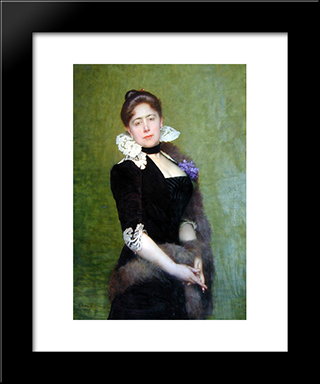 Portrait Of A Lady: Modern Black Framed Art Print by Jules Joseph Lefebvre