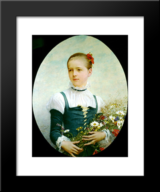 Portrait Of Edna Barger Of Connecticut: Modern Black Framed Art Print by Jules Joseph Lefebvre