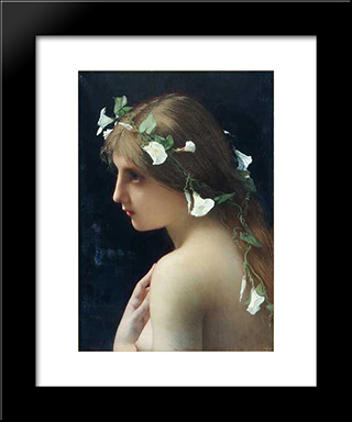 Nymph With Morning Glory Flowers: Modern Black Framed Art Print by Jules Joseph Lefebvre