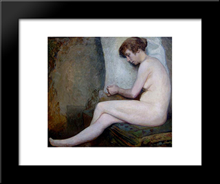 Susanne (Unfinished): Modern Black Framed Art Print by Jules Joseph Lefebvre