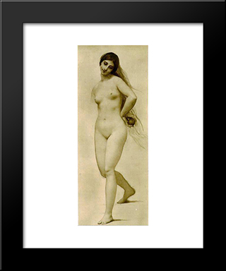 Eve: Modern Black Framed Art Print by Jules Joseph Lefebvre