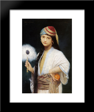 The Feathered Fan: Modern Black Framed Art Print by Jules Joseph Lefebvre