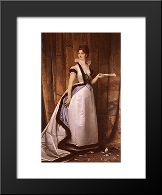Portrait Of A Woman: Modern Black Framed Art Print by Jules Joseph Lefebvre