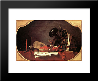 Attributes Of Music: Modern Black Framed Art Print by Jean Baptiste Simeon Chardin