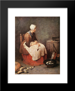 Girl Peeling Vegetables: Modern Black Framed Art Print by Jean Baptiste Simeon Chardin