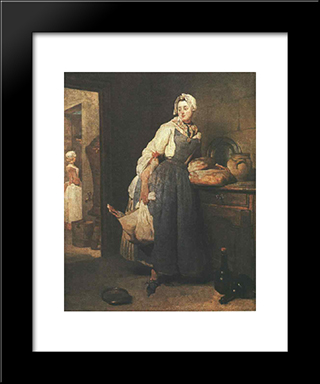 Return From The Market: Modern Black Framed Art Print by Jean Baptiste Simeon Chardin
