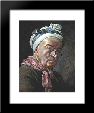 Self'Portrait: Modern Black Framed Art Print by Jean Baptiste Simeon Chardin