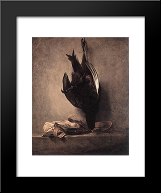 Still'Life With Dead Pheasant And Hunting Bag: Modern Black Framed Art Print by Jean Baptiste Simeon Chardin