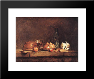 Still'Life With Jar Of Olives: Modern Black Framed Art Print by Jean Baptiste Simeon Chardin