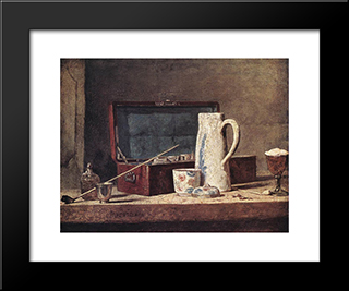 Still'Life With Pipe And Jug: Modern Black Framed Art Print by Jean Baptiste Simeon Chardin