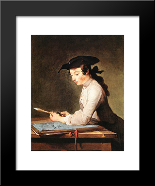 The Draughtsman: Modern Black Framed Art Print by Jean Baptiste Simeon Chardin