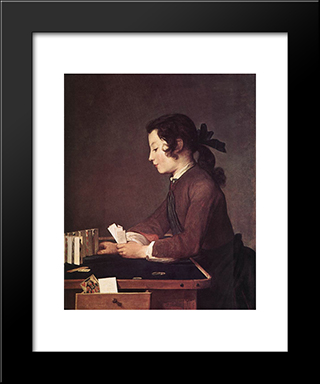 The House Of Cards: Modern Black Framed Art Print by Jean Baptiste Simeon Chardin