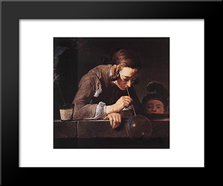 The Soap Bubble: Modern Black Framed Art Print by Jean Baptiste Simeon Chardin