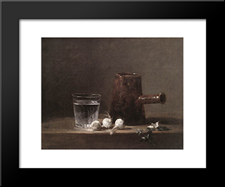 Water Glass And Jug: Modern Black Framed Art Print by Jean Baptiste Simeon Chardin