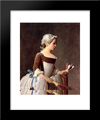 Girl With A Featherball Racket: Modern Black Framed Art Print by Jean Baptiste Simeon Chardin
