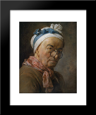 Selfportrait With Glasses: Modern Black Framed Art Print by Jean Baptiste Simeon Chardin