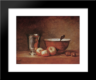 The Silver Cup: Modern Black Framed Art Print by Jean Baptiste Simeon Chardin