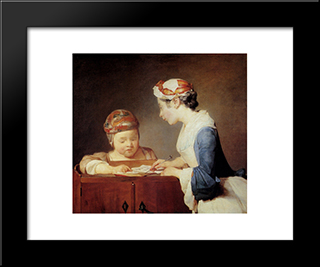 The Teacher: Modern Black Framed Art Print by Jean Baptiste Simeon Chardin