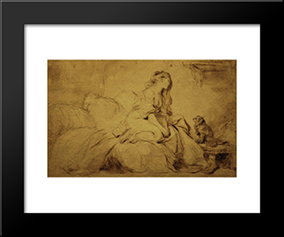 Oh! If He Were Only As Faithful To Me: Modern Black Framed Art Print by Jean Baptiste Simeon Chardin