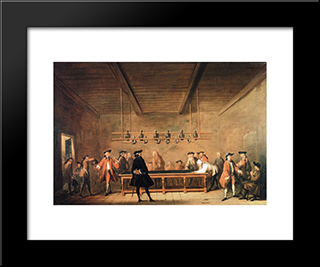 The Game Of Billiards: Modern Black Framed Art Print by Jean Baptiste Simeon Chardin