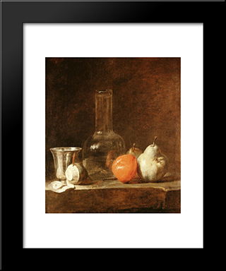 Still Life With Carafe, Silver Goblet And Fruit: Modern Black Framed Art Print by Jean Baptiste Simeon Chardin