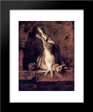 Rabbit With Game'Bag And Powder Flask: Modern Black Framed Art Print by Jean Baptiste Simeon Chardin