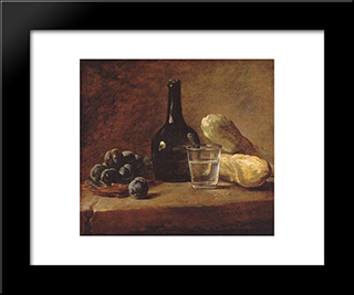 Still Life With Plums: Modern Black Framed Art Print by Jean Baptiste Simeon Chardin