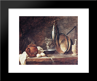The Fast Day Meal: Modern Black Framed Art Print by Jean Baptiste Simeon Chardin