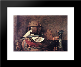 The Attributes Of Science: Modern Black Framed Art Print by Jean Baptiste Simeon Chardin