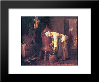 Woman At The Water Cistern: Modern Black Framed Art Print by Jean Baptiste Simeon Chardin