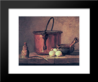 Still Life With Copper Cauldron And Eggs: Modern Black Framed Art Print by Jean Baptiste Simeon Chardin