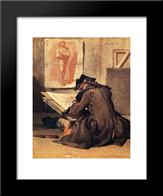 The Student Drawing: Modern Black Framed Art Print by Jean Baptiste Simeon Chardin