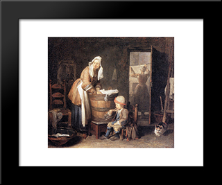 The Laundress: Modern Black Framed Art Print by Jean Baptiste Simeon Chardin