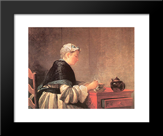 Lady Taking Tea: Modern Black Framed Art Print by Jean Baptiste Simeon Chardin
