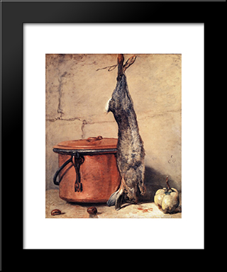 Rabbit, Copper Cauldron And Quince: Modern Black Framed Art Print by Jean Baptiste Simeon Chardin