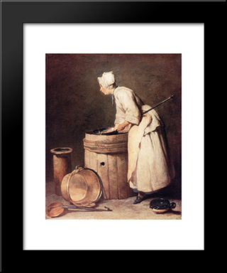 The Scullery Maid: Modern Black Framed Art Print by Jean Baptiste Simeon Chardin