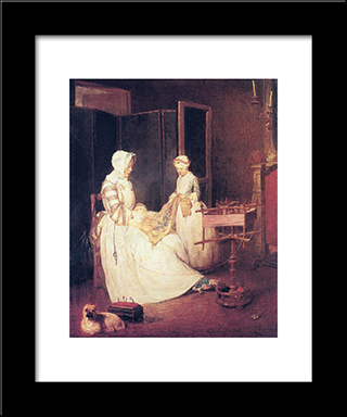 The Diligent Mother: Modern Black Framed Art Print by Jean Baptiste Simeon Chardin