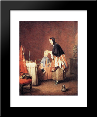 The Dressing Table: Modern Black Framed Art Print by Jean Baptiste Simeon Chardin